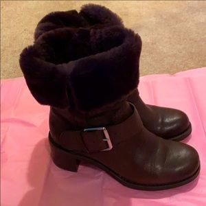 Brown Leather Faux Fur Boots